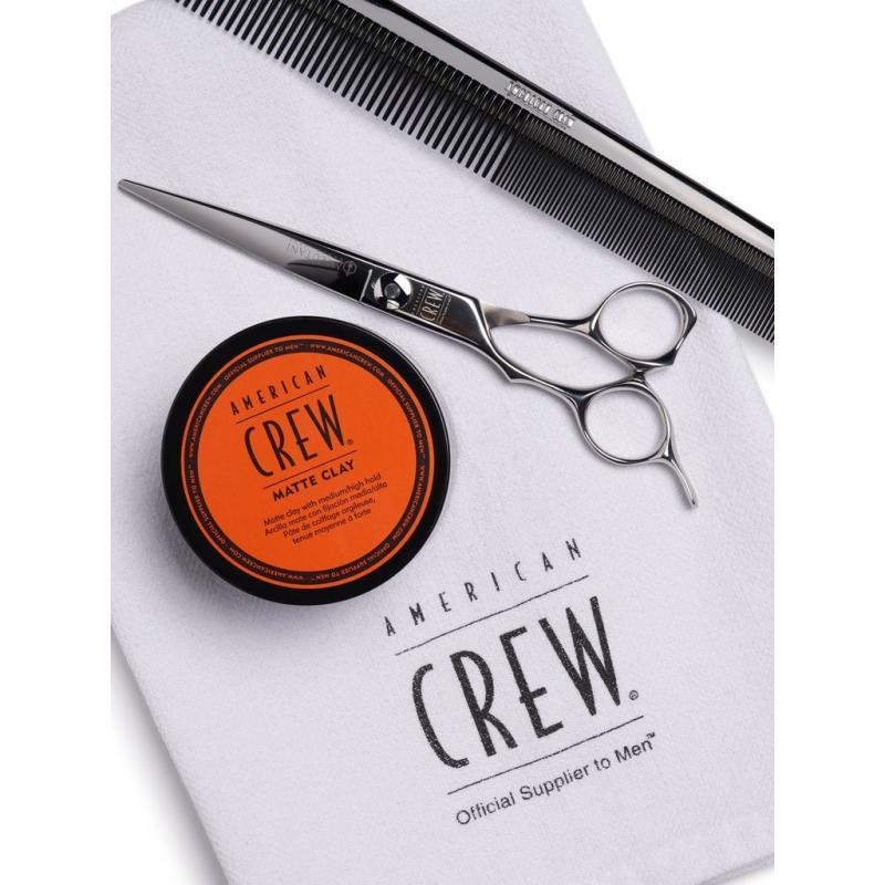 matte clay American crew-cire de coiffage-coiffure-cheveux court-argile mat-ciseaux et peigne de coiffeur