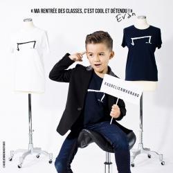 evan petit garçon de 5 ans nous présente le mini M tee shirt noir de la marque Aurélien Magnano avec classe