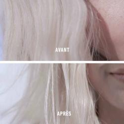 Avant après le shampooing BAIN LUMIÈRE BLOND ABSOLU par Kérastase pour des cheveux blonds éclatant de santé et de douceur