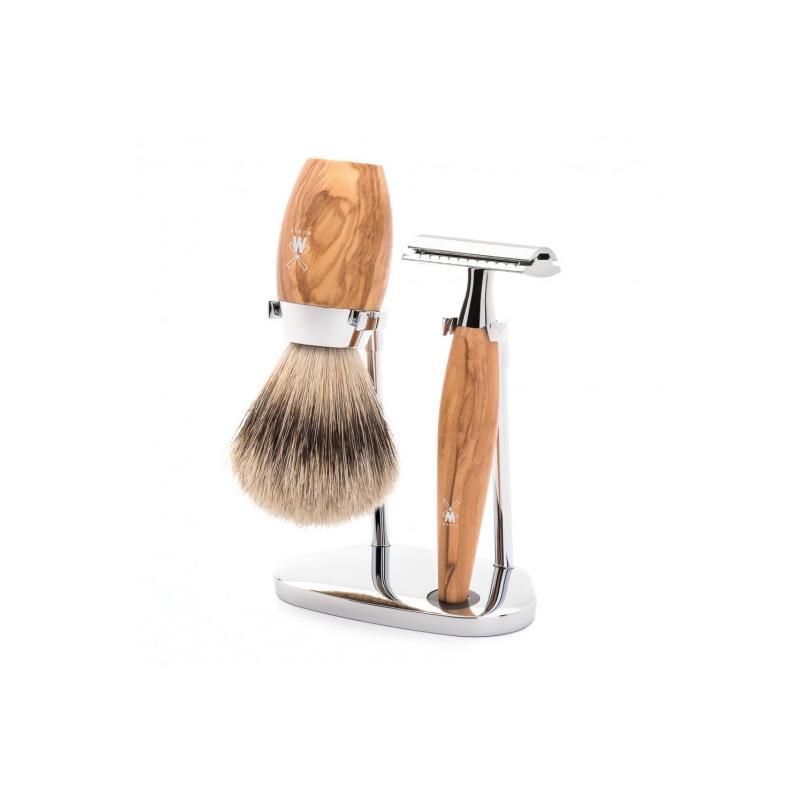 pinceau de rasage-blaireau pur gris-kit en bois d'olivier avec rasoir de suretée MÜHLE