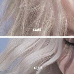 Avant et après Kérastase Blond Absolu Cicaflash Après-shampooing pour renforcer et hydrater les cheveux blonds