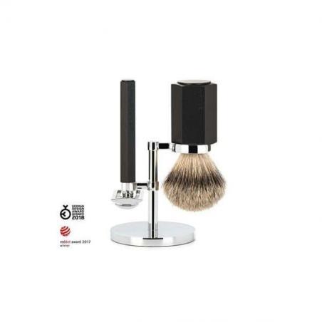 coffret-de-rasage-mark-braun-blaireau-pur-argente-rasoir-de-surete-noir-aluminium-graphite-hexagon-