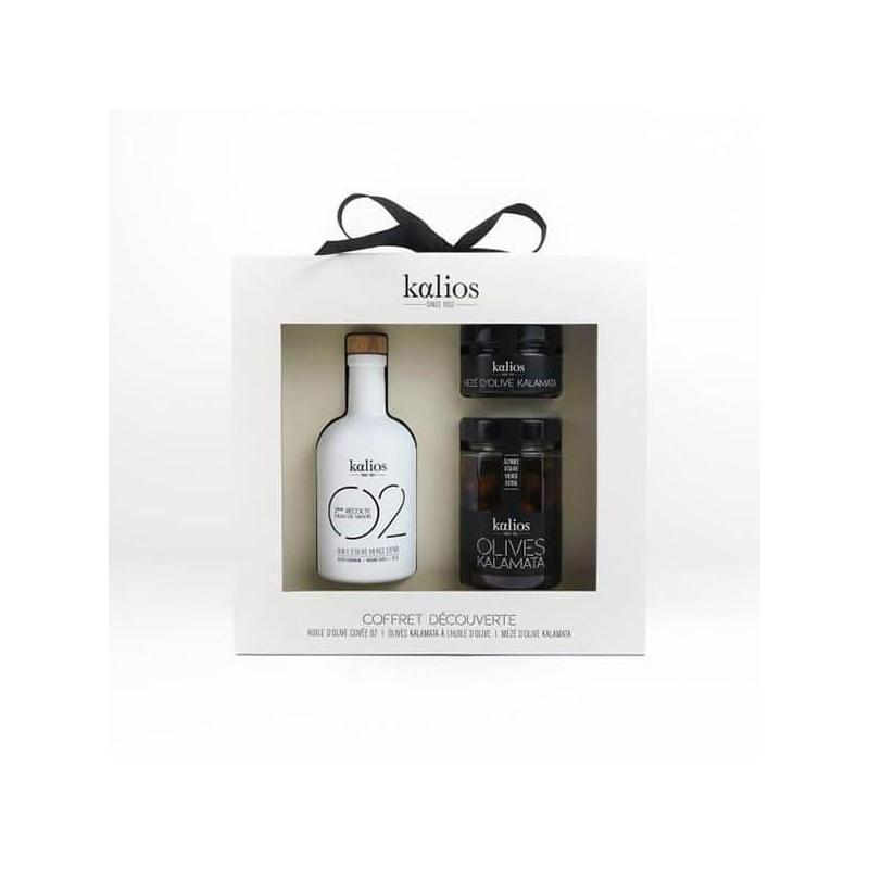 coffret cadeau kalios-huile d'olive-olives et mézé d'olives
