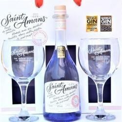 coffret cadeau Gin saint amans original avec ses verres-meilleur gin français