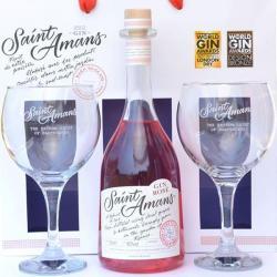 coffret cadeau Gin saint amans rosé avec ses verres-meilleur gin français