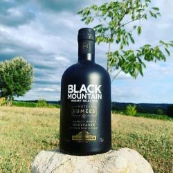 Whisky Notes Fumées-BLACK MOUNTAIN-bouteille posée sur une pierre avec un paysage de campagne à l'arrière