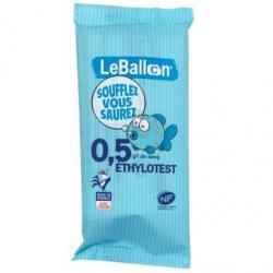 """Ethylotest chimique jetable NF 0,5G sans chrome - Le Ballon Alcootest chimique """"Le Ballon"""" sans chrome répondant aux normes NF."""