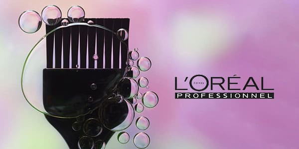 logo loreal professionnel-fond rose-pinceau coloration